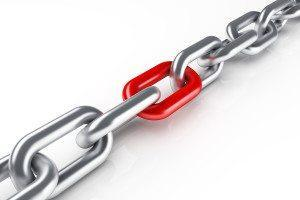 Steel chain with red link