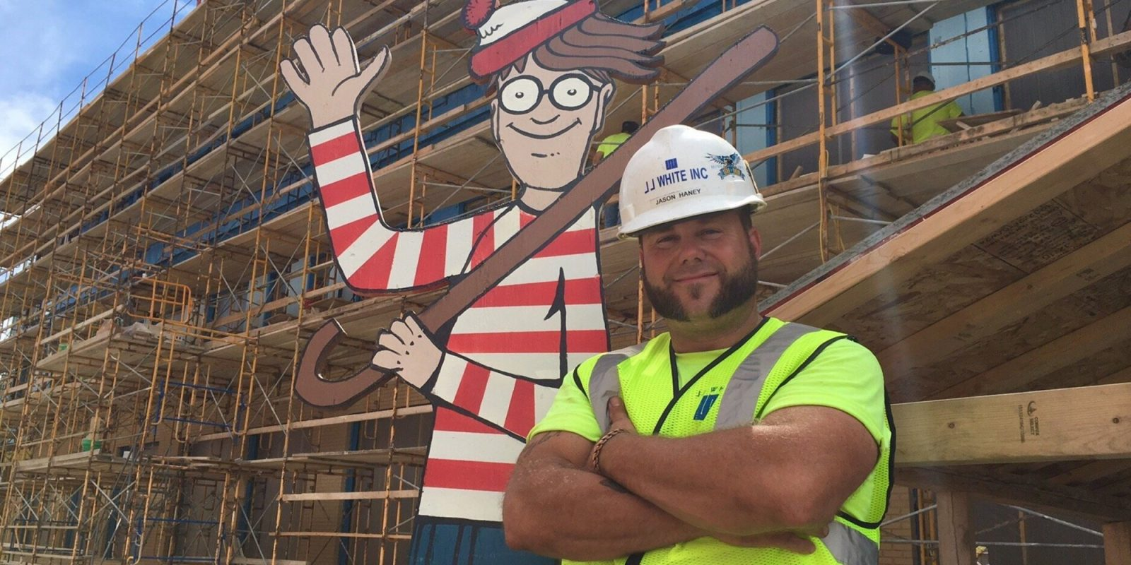 Construction Worker Hides Waldo On Site For Kids In Hospital Next Door