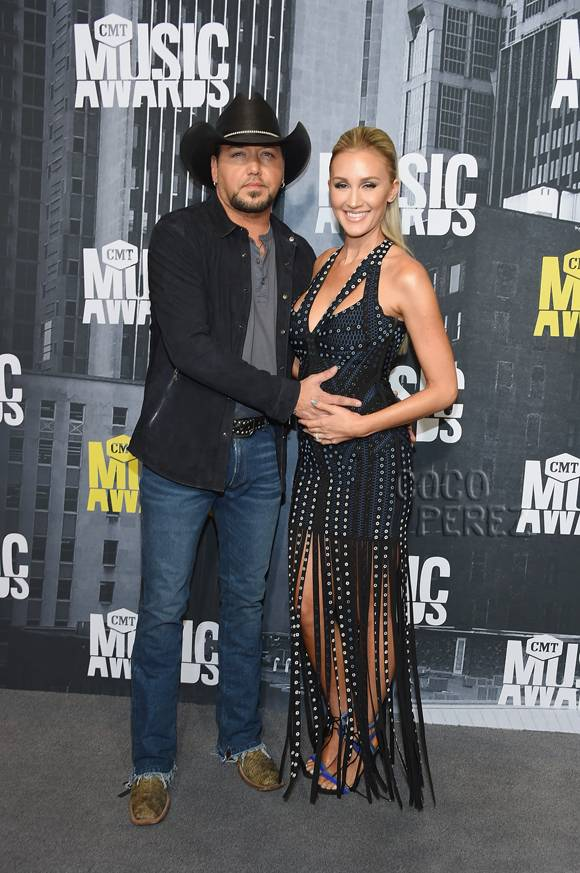 Jason Aldean & Brittany Kerr Hug Their Growing Baby Bump At The CMT Music Awards!