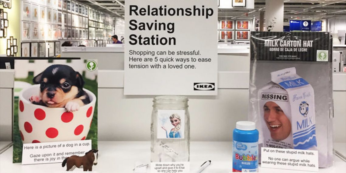 Guy trolls IKEA by installing a fake relationship saving station, that might actually work!
