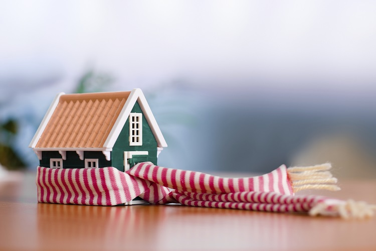 Scarf around a miniature green house - conceptual view of protecting or isolating house